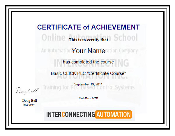 Summary Of Sample Basic Click Plc Certificate Course